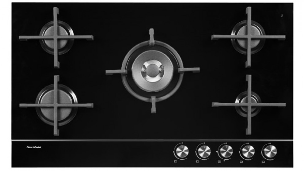 Fisher & Paykel 90cm 5 Burner Natural Gas on Glass Cooktop - Black