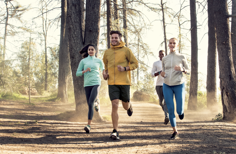 Group of people jogging together