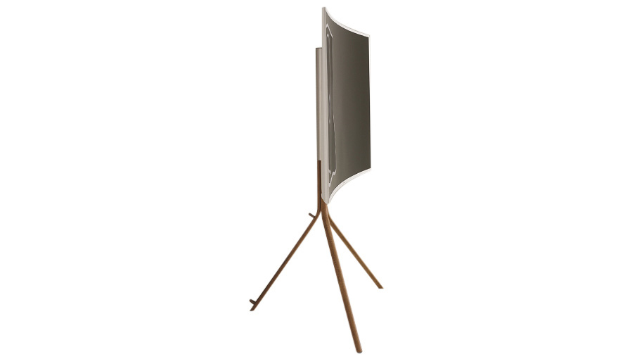 Side view of the Pure white TV on the timber-look stand, showing the ultra-slim profile